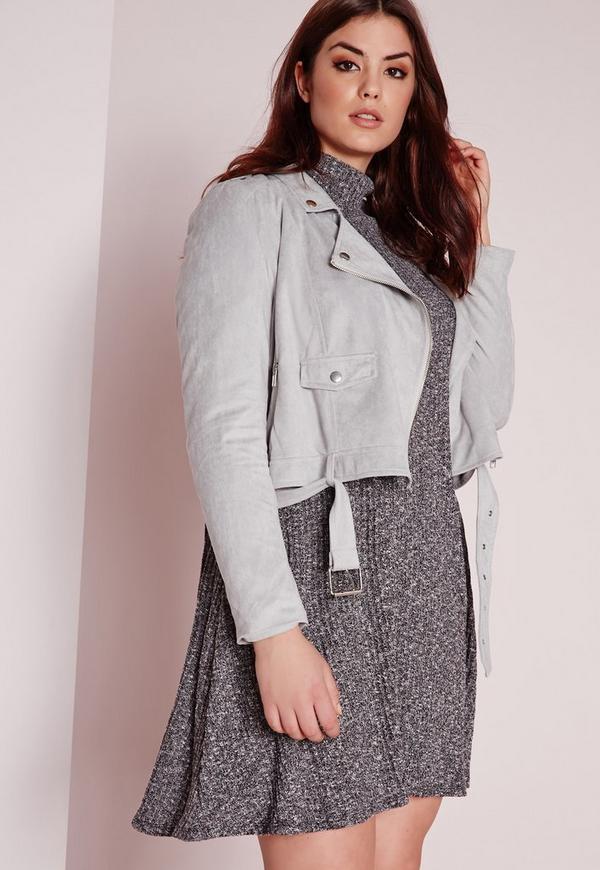 Plus Size Faux Suede Biker Jacket Grey