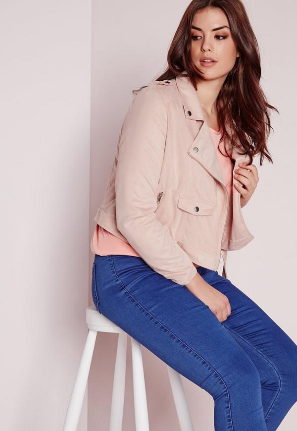 Plus Size Faux Suede Biker Jacket Pink