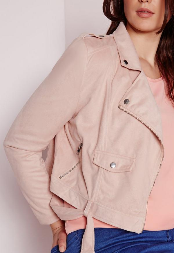 Plus Size Faux Suede Biker Jacket Pink | Missguided