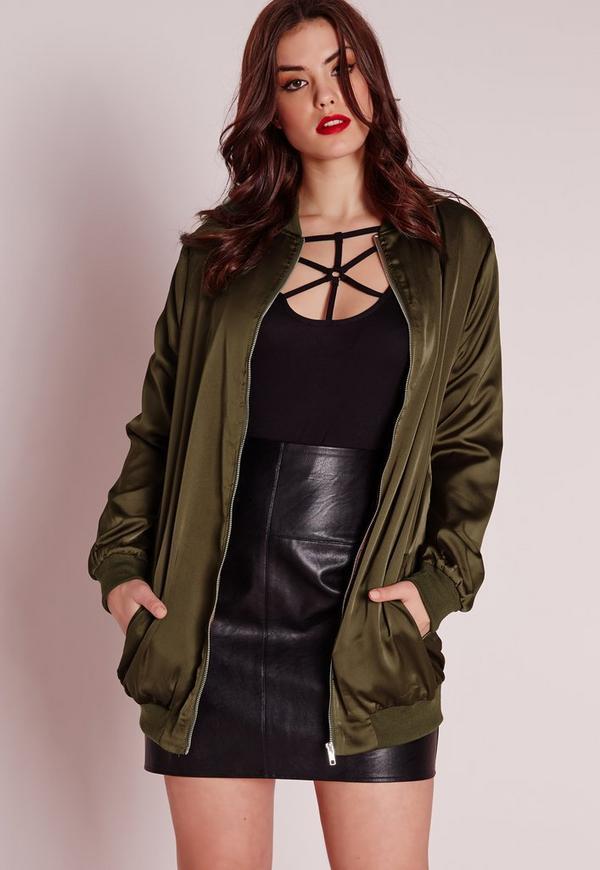 Plus Size Long Line Satin Bomber Jacket Khaki