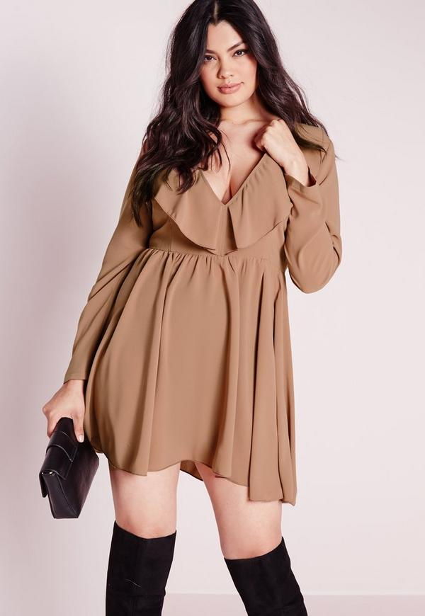 Plus Size Frilly Swing Dress Nude