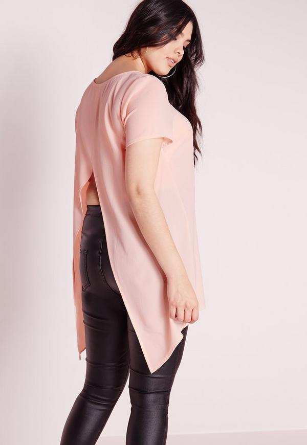 Plus Size Split Back Top Nude