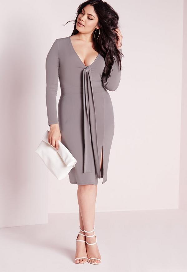 Plus Size Slinky Tie Front Midi Dress Grey