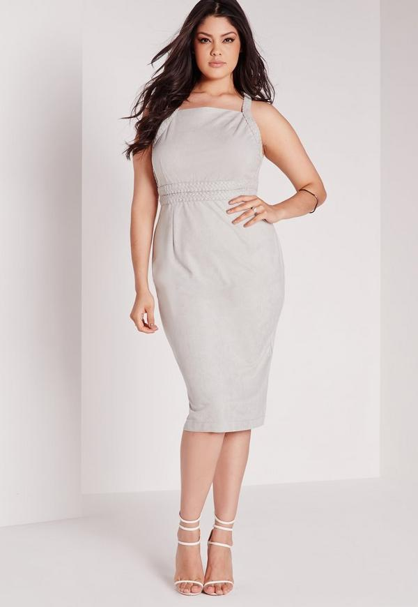 Plus Size Faux Suede Plait Midi Dress Grey