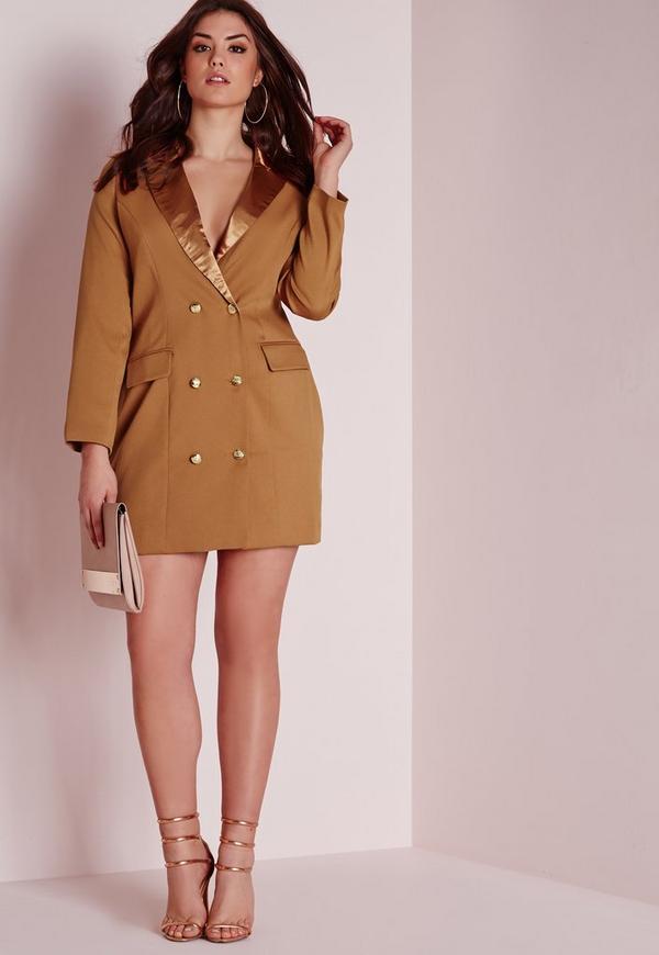 Plus Size Tux Satin Collar Shirt Dress Tan