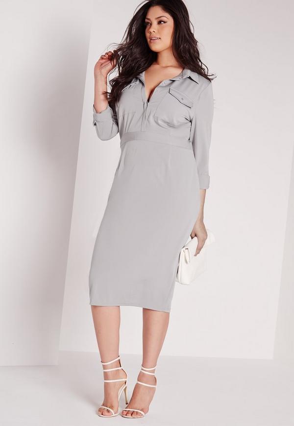 Plus Size Slinky Midi Dress Grey
