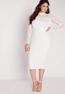 Plus Size Scuba Lace Midi Dress White