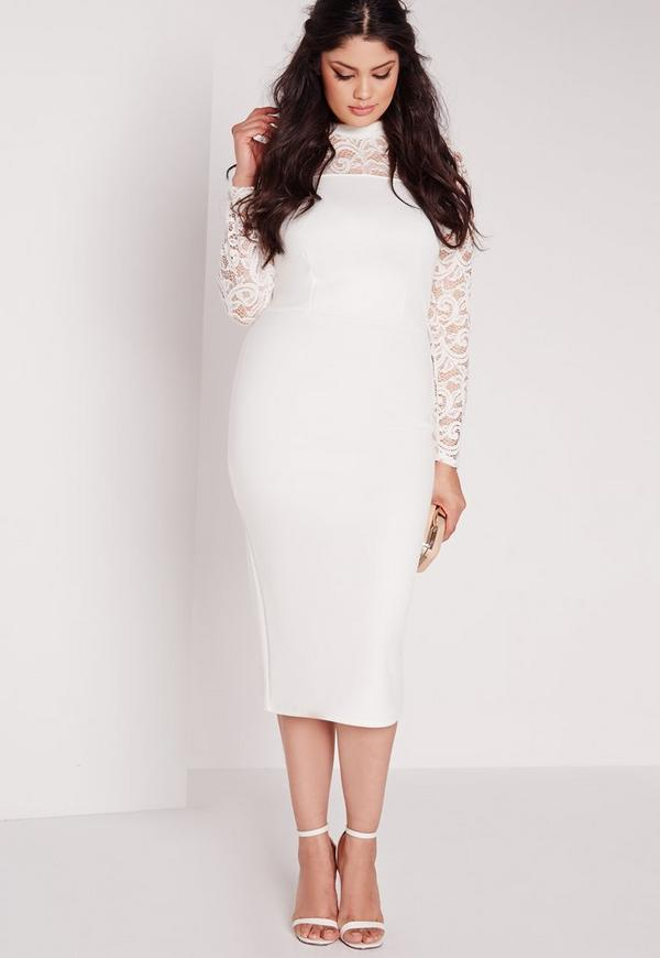 plus size scuba lace midi dress white | missguided