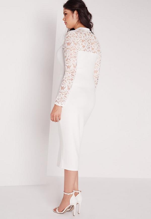 plus size scuba lace midi dress white missguided