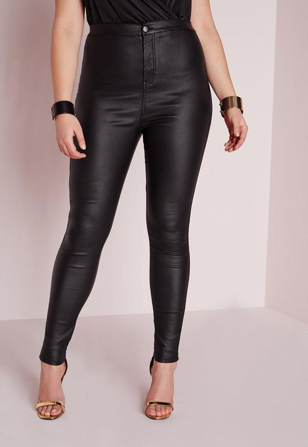 Plus Size Coated Skinny Jeans Black | Missguided