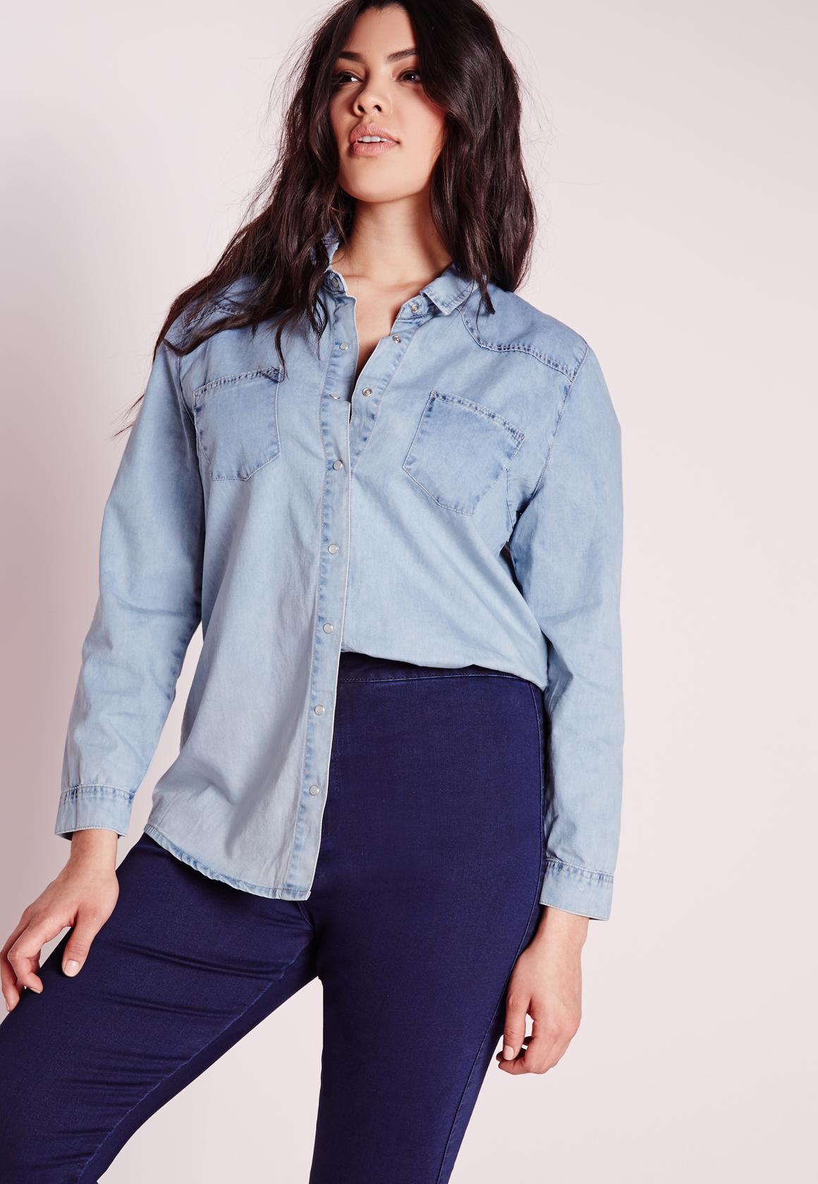 plus size denim shirt blue   missguided