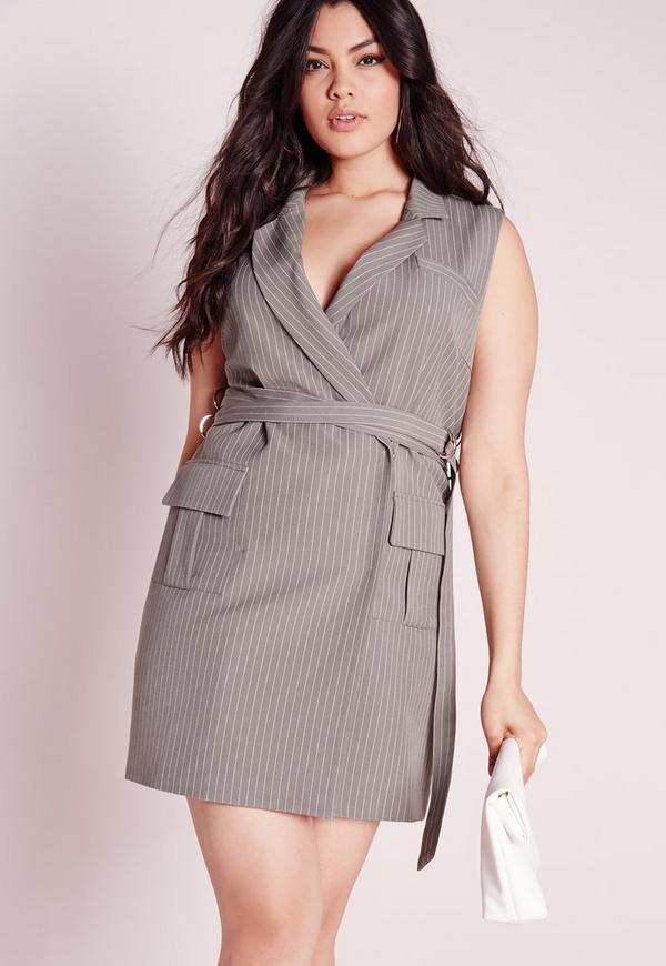 Plus Size Stripe Wrap Sleeveless Shirt Dress Grey