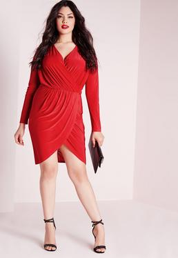 Plus Size Slinky Wrap Dress Red
