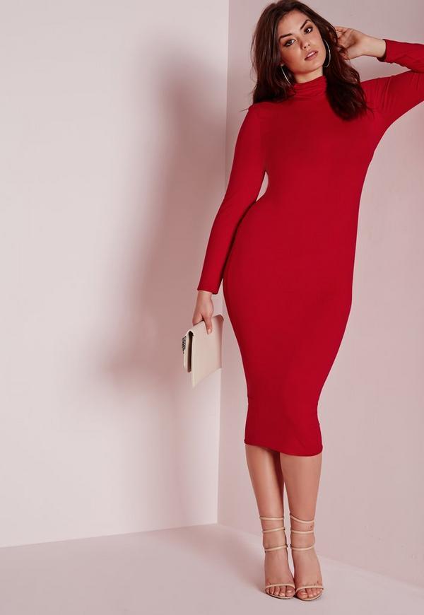 Plus Size Roll Neck Longline Jersey Dress Red