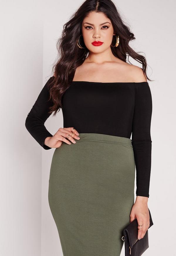 Plus Size Long Sleeve Bardot Bodysuit Black
