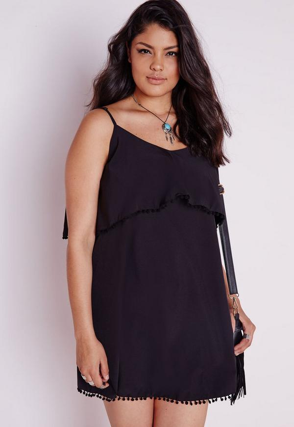 Plus Size Frill Detail Strappy Dress Black