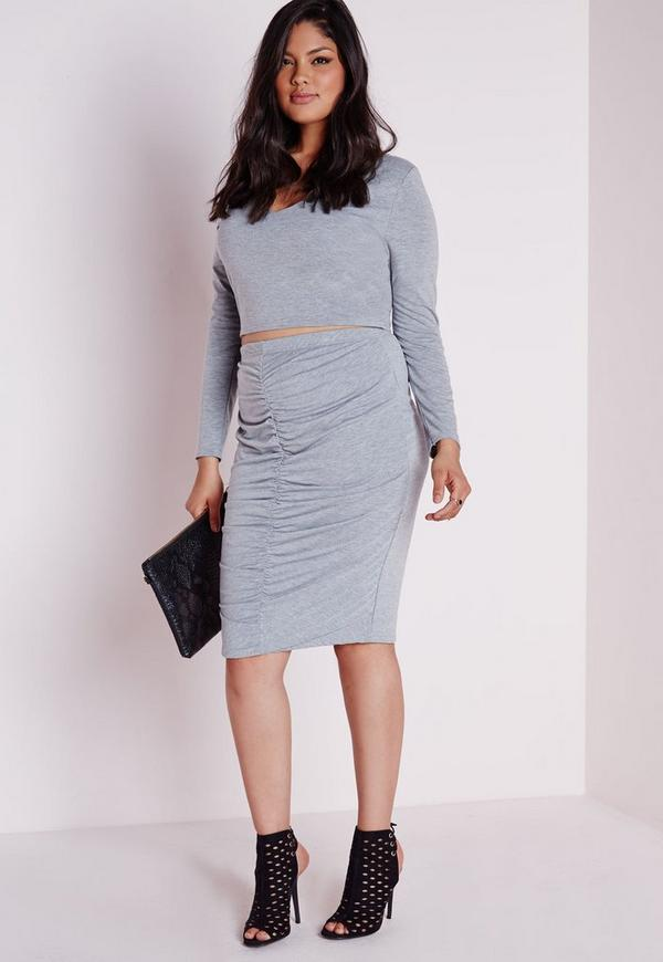 Plus Size Ruched Front Midi Skirt Marl Grey