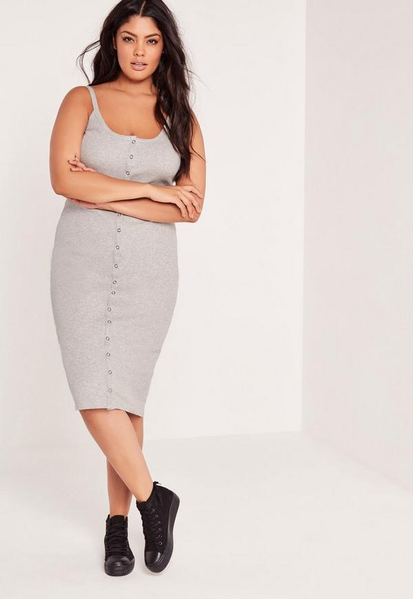 Plus Size Ribbed Button Midi Dress Grey