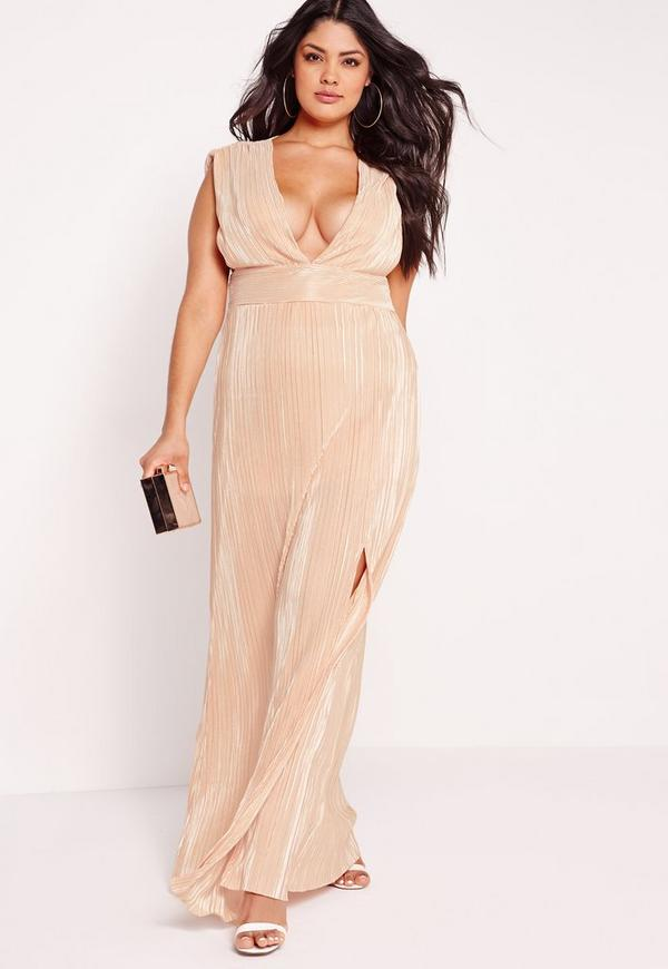 Plus Size Pleated Front Split Maxi Nude Missguided