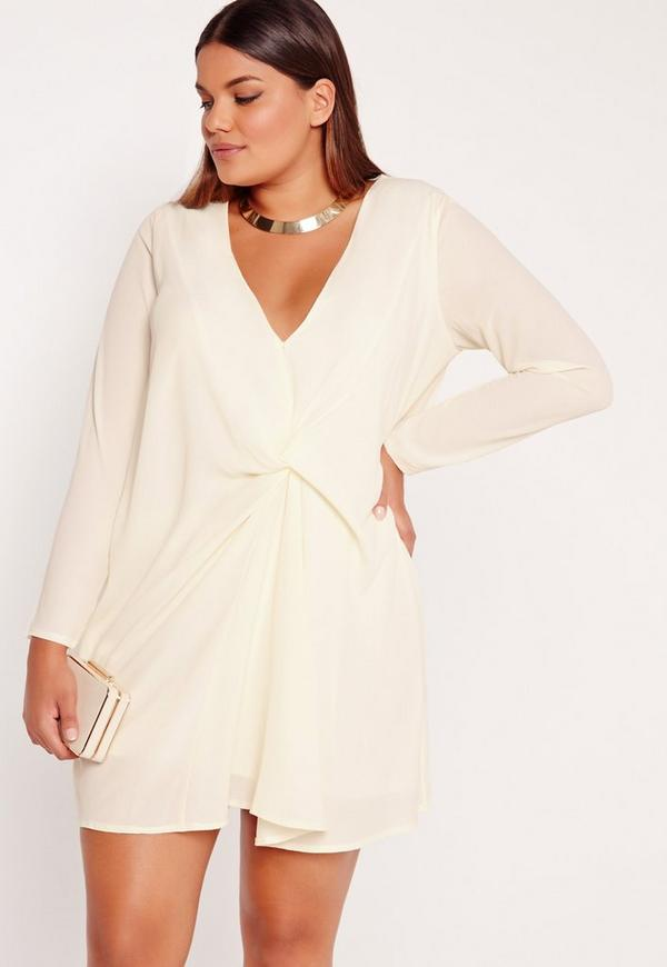 Plus Size Knot Oversized Dress Cream Missguided