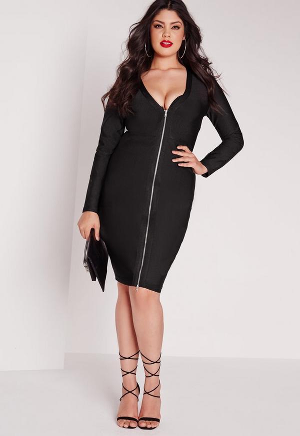 Plus Size Bandage Midi Dress Black Missguided