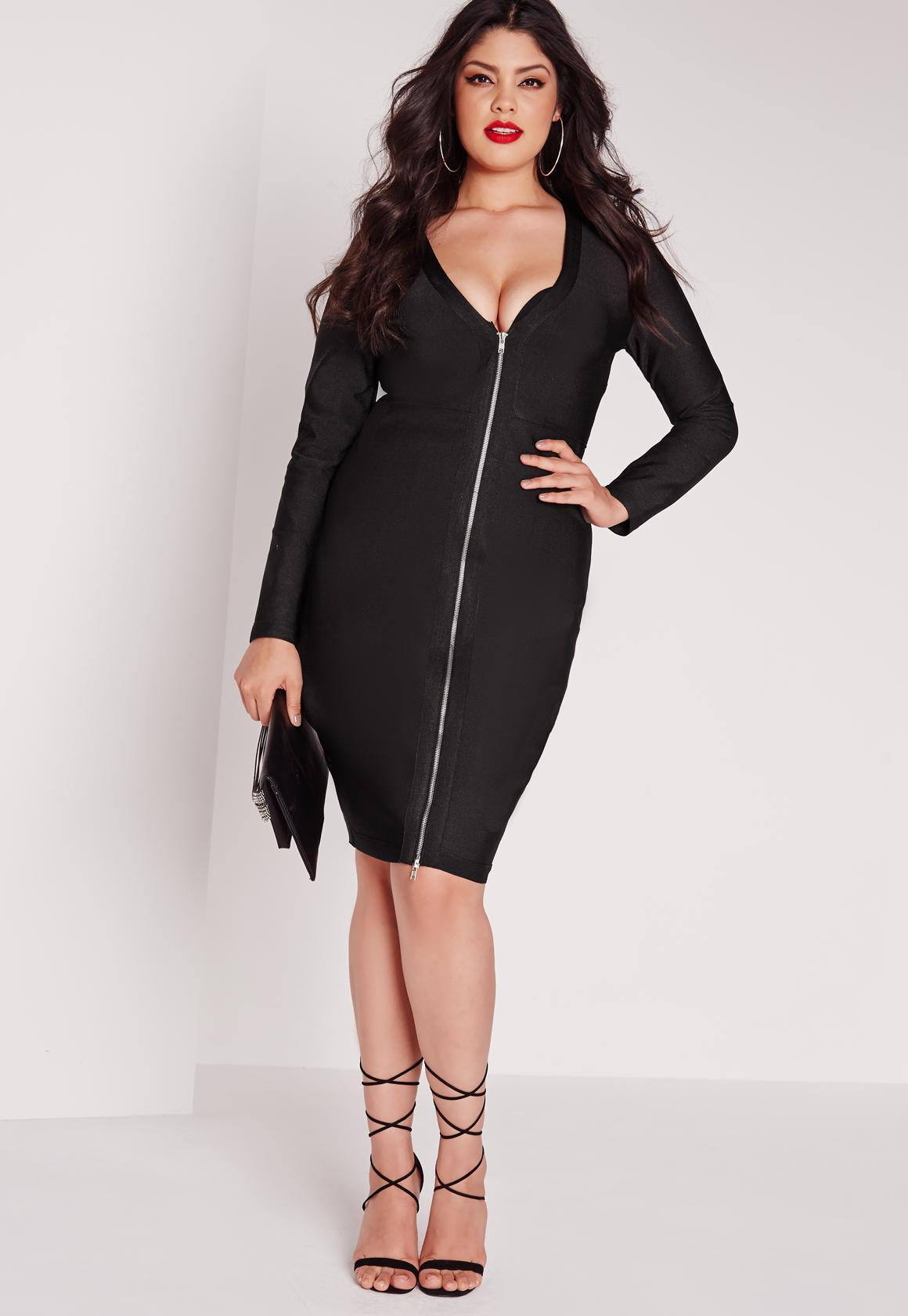 plus size bandage midi dress black | missguided