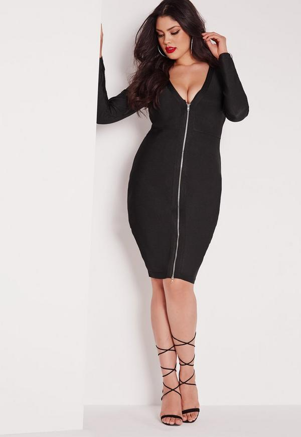 Plus Size Bandage Midi Dress Black Missguided
