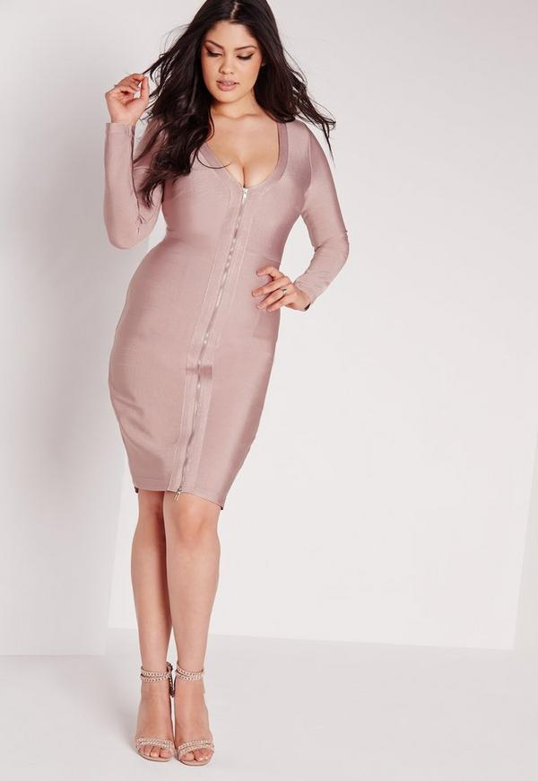Plus Size Bandage Midi Dress Pink