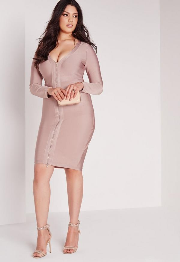 Plus Size Bandage Midi Dress Pink | Missguided