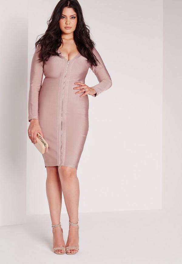 plus size bandage midi dress pink | missguided
