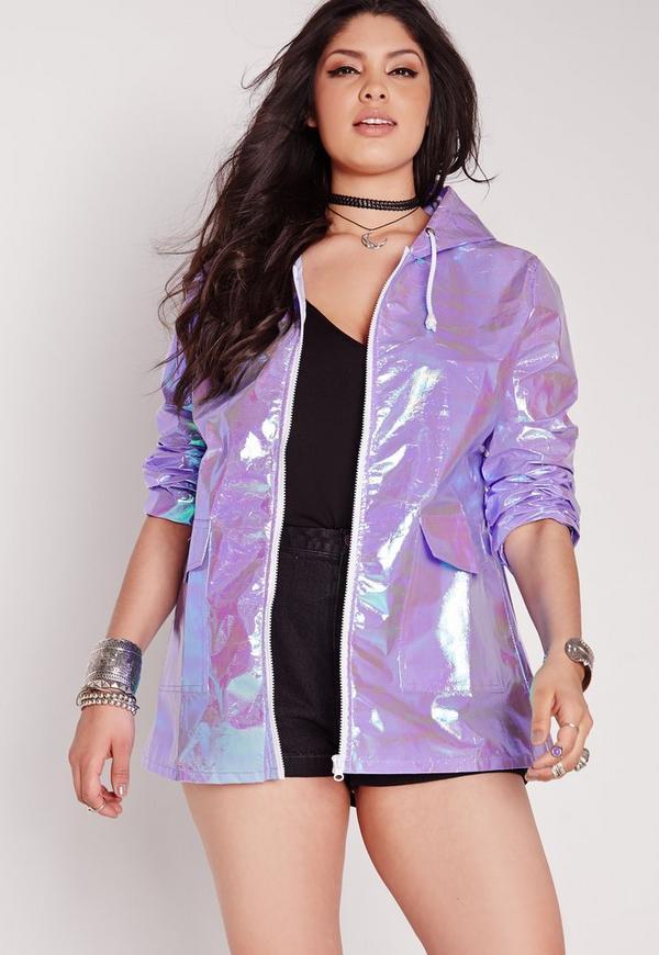 Plus Size Holographic Rain Coat Lilac