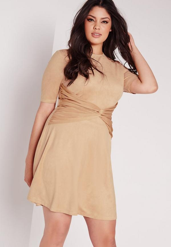 Plus Size Faux Suede Knot Dress Camel
