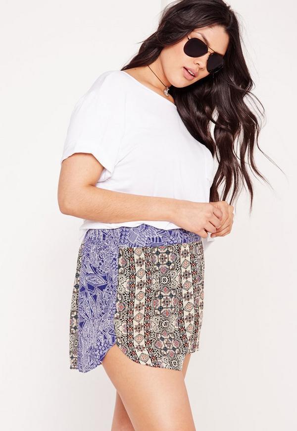 Plus Size Printed Shorts Multi