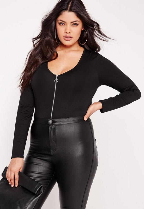 Plus Size Zip Front Bodysuit Black