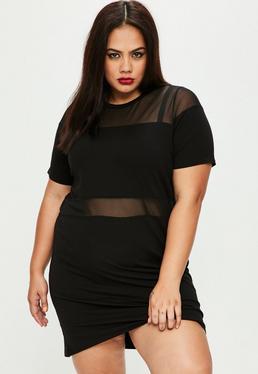 Vestido oversize de tallas grandes con aplicaciones de malla negro
