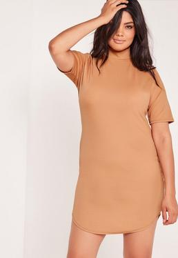 Plus Size Curve Hem Dress Camel