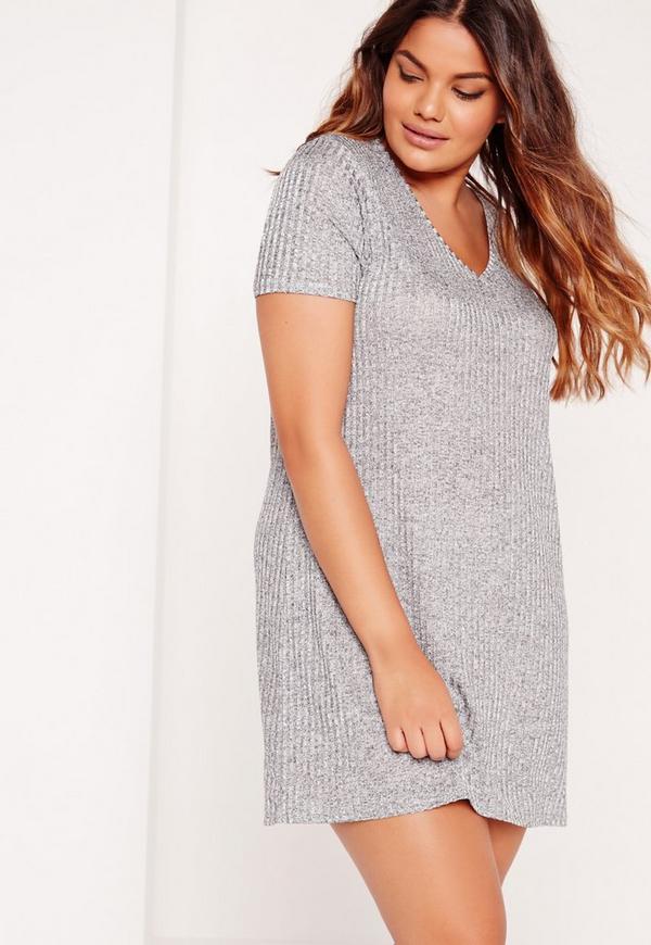 Plus Size Metalic T-Shirt Dress Grey