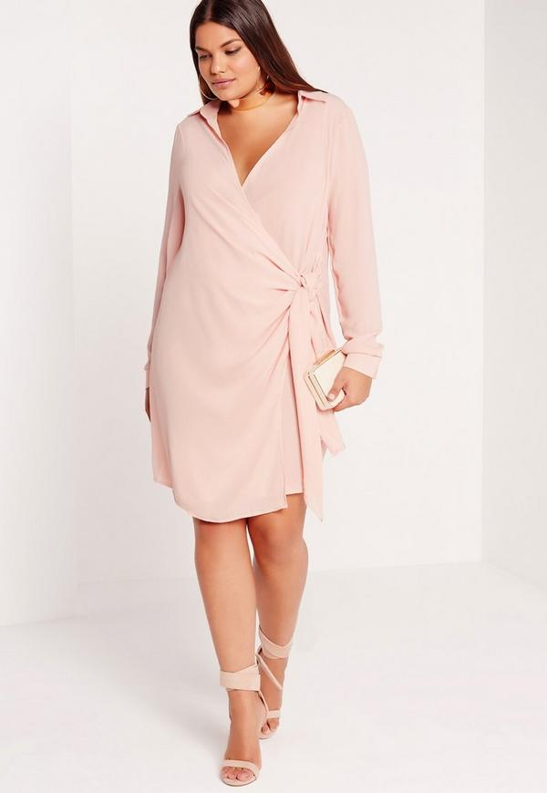 Plus Size Wrap Dress Nude | Missguided