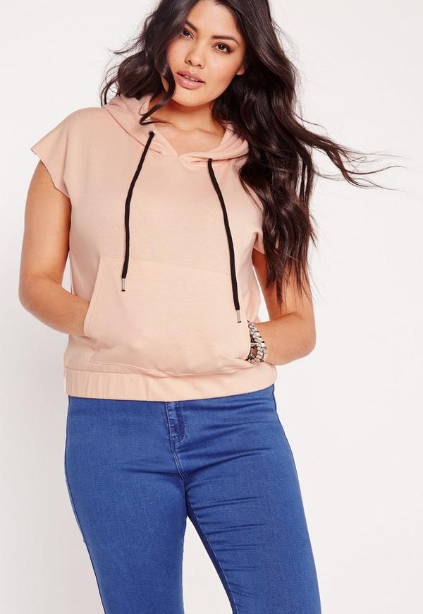 Plus Size Sleeveless Hoodies Pink