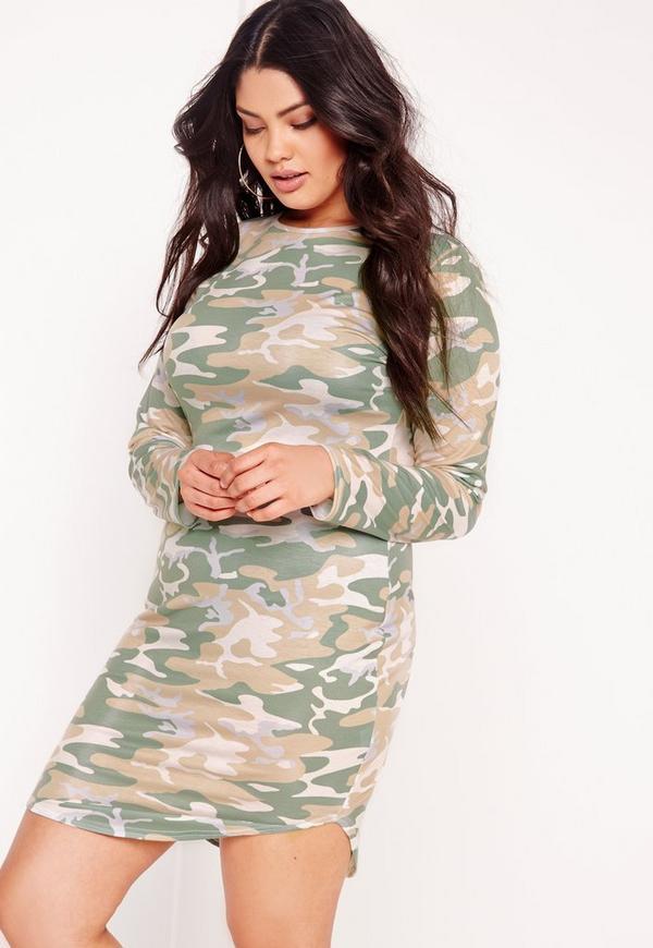Plus Size Camo Curve Hem Dress Multi