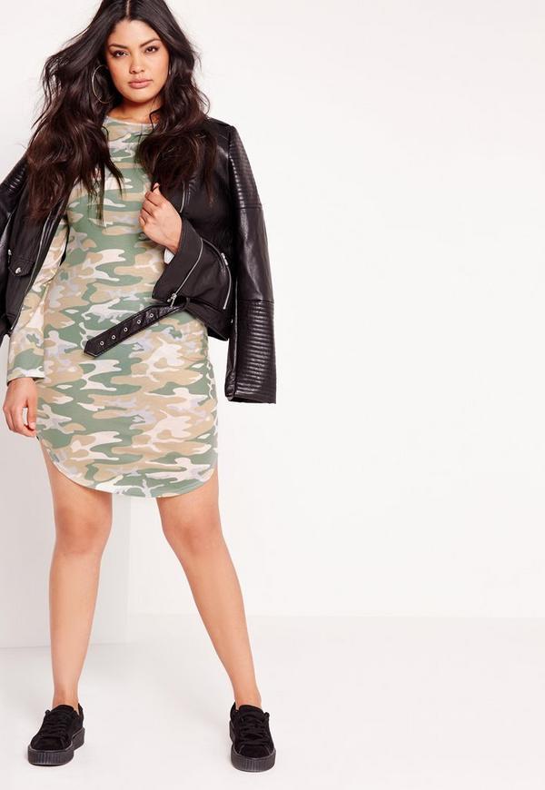 Plus Size Camo Curve Hem Dress Multi Missguided