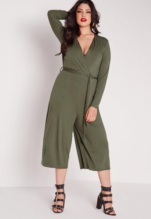 Plus Size Wrap Plunge Jumpsuit Khaki
