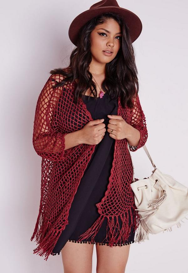 Plus Size Crochet Cardigan Rust