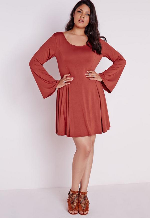 Plus Size A-Line Bell Sleeve Dress Rust
