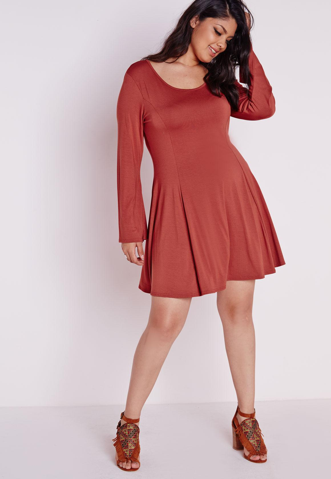 Plus Size A-Line Bell Sleeve Dress Rust| Missguided