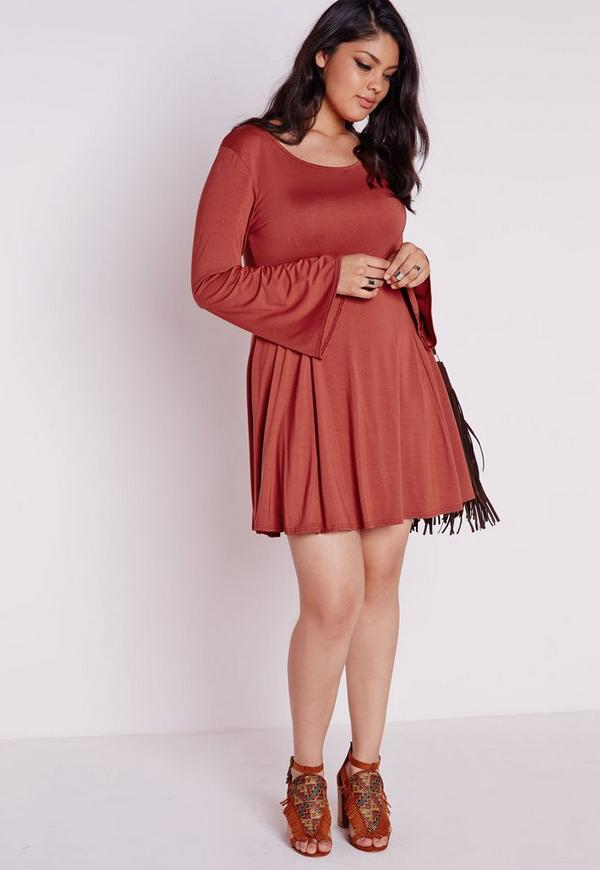 Plus Size A Line Bell Sleeve Dress Rust Missguided