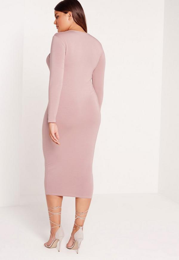 Plus Size Lace Up Dress Lilac | Missguided