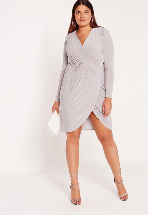 Plus Size Slinky Wrap Dress Grey