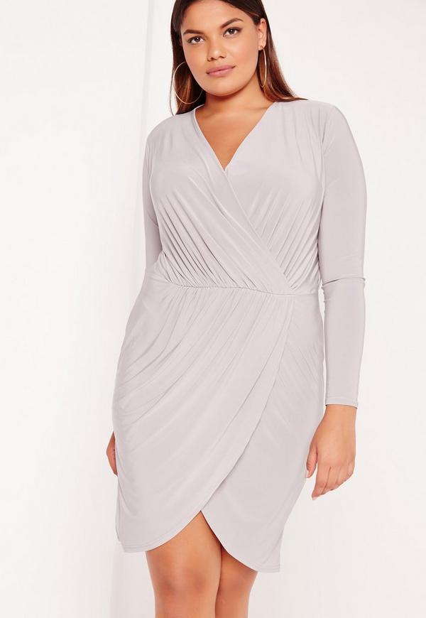 Plus Size Slinky Wrap Dress Grey | Missguided