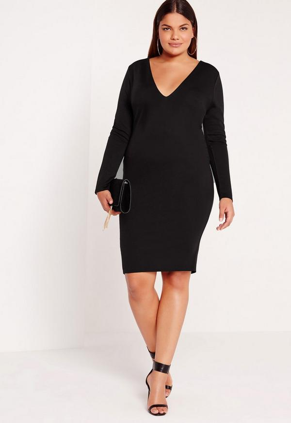 Plus Size Ponte Long Sleeve Midi dress Black